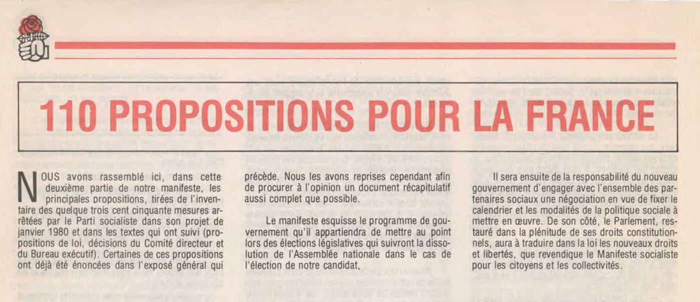 110 Propositions pour la France